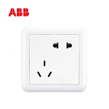 ABB开关插座德静系列白色二位二三极插座 10A