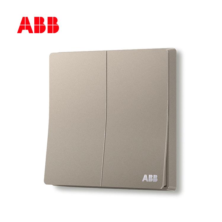 ABB开关插座轩致系列朝霞金二位单控开关AF122-PG;10183498
