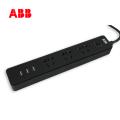 ABB排插接线板三位五孔带3USB带总控带灯10A-黑色