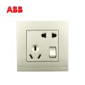 ABB开关插座由悦系列二位二、三极带开关插座 10A, 珍珠金