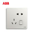 ABB开关插座轩致系列雅典白二位中标带开关五孔插座AF225;10183451