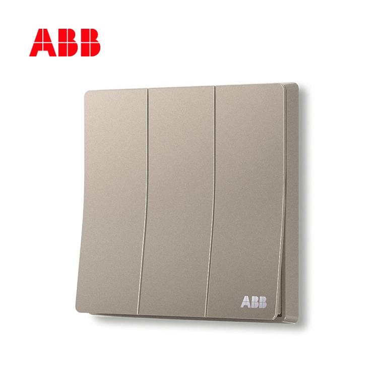 ABB开关插座轩致系列朝霞金三位单控开关AF123-PG;10183500