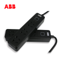 ABB排插接线板三位五孔带总控不带灯10A-黑色
