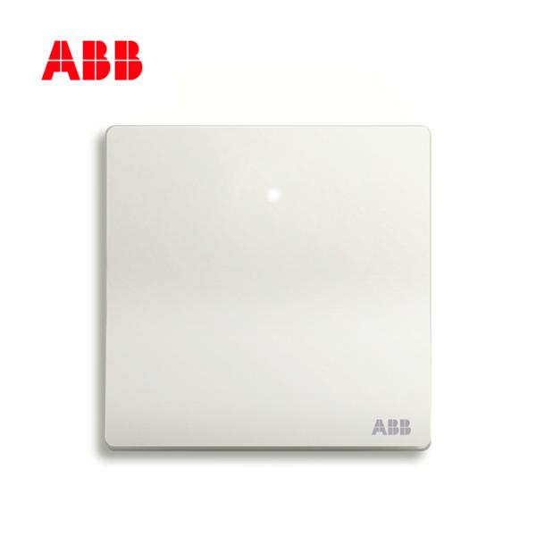 ABB开关插座轩致系列雅典白一位单控带灯开关AF181;10183432