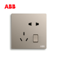 ABB开关插座轩致系列朝霞金二位中标带开关五孔插座AF225-PG;10183507