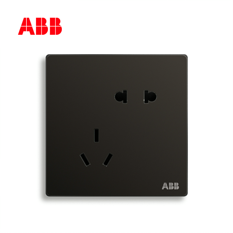 ABB开关插座轩致系列星空黑二位中标五孔插座AF205-885;10183616