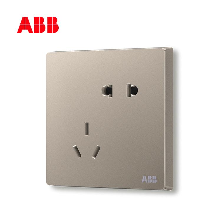ABB开关插座轩致系列朝霞金二位中标五孔插座AF205-PG;10183506