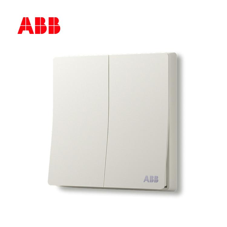 ABB开关插座轩致系列雅典白二位单控开关AF122;10183435