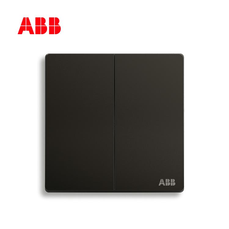 ABB开关插座轩致系列星空黑二位单控开关AF122-885;10183608
