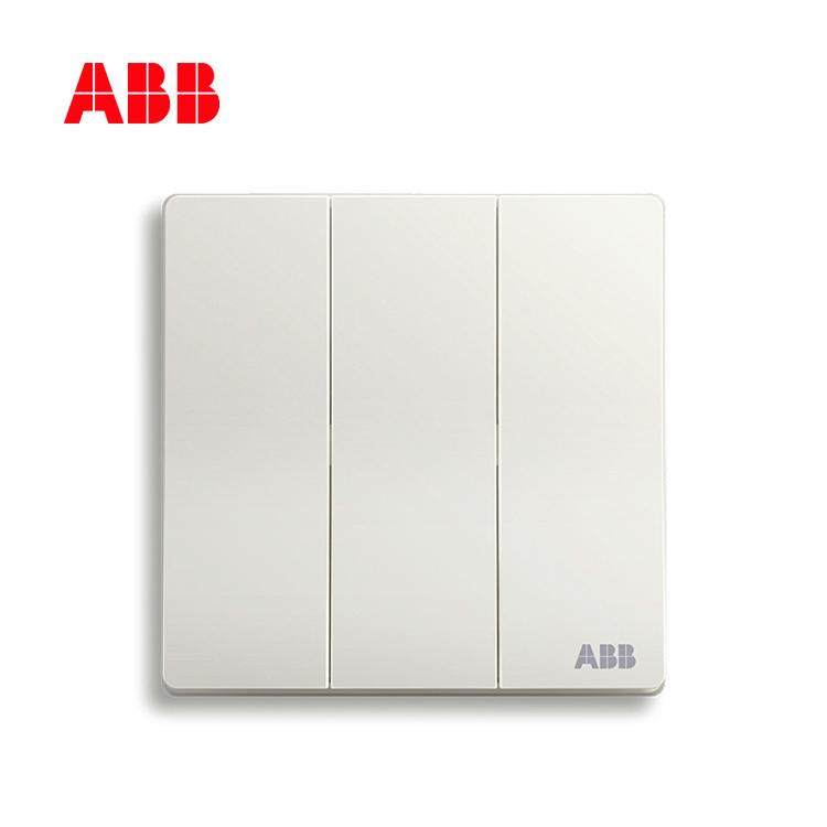 ABB开关插座轩致系列雅典白三位单控开关AF123;10183439