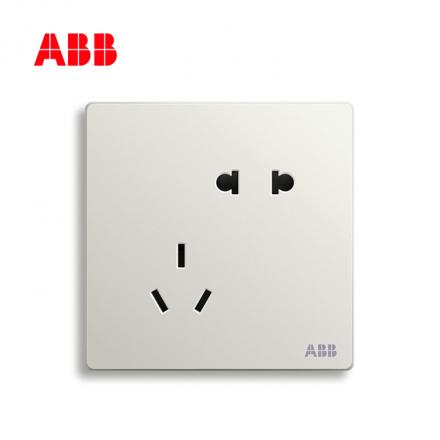 ABB开关插座轩致系列雅典白二位中标五孔插座AF205;10183450