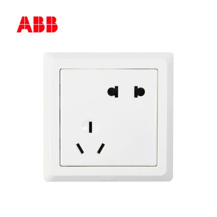 ABB开关插座徳逸系列白色二位二、三极插座 10A